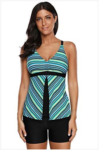 Hinyyee Sommer Badeanzüge für Damen Schnittmuster Low Cut Tankini Flache Hose mit hoher Taille Zweiteiliger sexy Badeanzüge (Farbe : Multi-Colored Patterns, Größe : L)