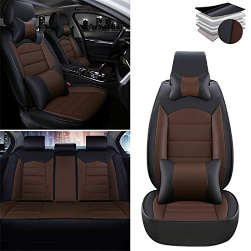 ytbmhhuoupx Full Set Luxury - Car Seat Covers for Ford Edge Explorer Escape Expedition F-150 Focus Fusion Taurus Ranger, PU Leather Airbag Compatible Seat Cushions Protector Covers, Black Coffee