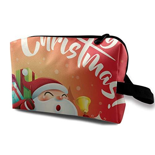 Bolsa de almacenamiento de maquillaje de viaje - Bolso de aseo portátil pequeño organizador de cosméticos para mujeres y hombres - Santa Claus envía GIF
