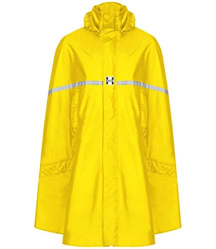 HOCK Premium Regenponcho mit Reißverschluss - Fahrradponcho Wasserdicht mit Reflektoren - Herren Damen Regenschutz - Hochwertige Regenbekleidung (gelb, XXL)