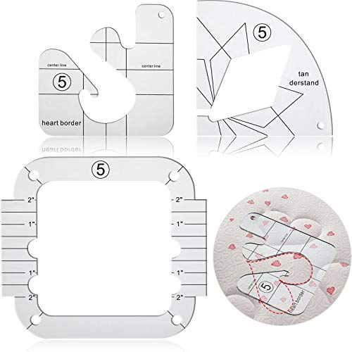 3 Pieces Free-Motion Quilting Template Set, Including Free-Motion Ruler Template, Internal Quilting Ruler Diamond and Internal Quilting Ruler Heart Border for Quilting on Home Sewing Machine