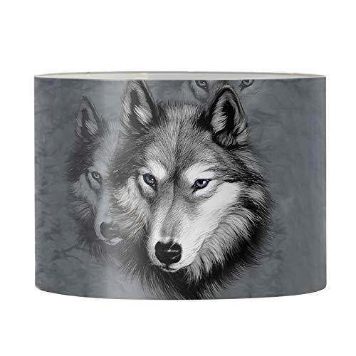 Aulaygo Pantalla redonda con estampado de lobo gris para lámpara de mesa, luz de suelo, hogar, dormitorio, hombres, niños, marco de protección de moda, pantalla de araña de 43 x 25 cm