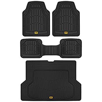 Caterpillar ToughRide Heavy-Duty Rubber Floor Mats & Cargo Trunk Liner for Car SUV Van Sedan Black - Odorless Trim to Fit All Weather Deep Dish Automotive Floor Mats Total Dirt Protection