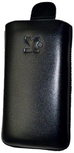 Suncase Original Echt Ledertasche für Nokia Asha 303 (Hülle mit Rückzugsfunktion) in glatt-schwarz