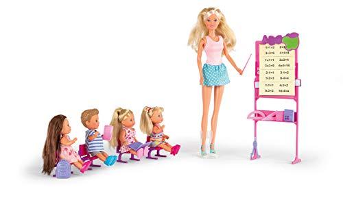 Smoby 105730472002 Steffi Love - Maitresse d'école - Poupée Mannequin 29cm - Tableau et Accessoires + 4 élèves Puppe, Mehrfarbig