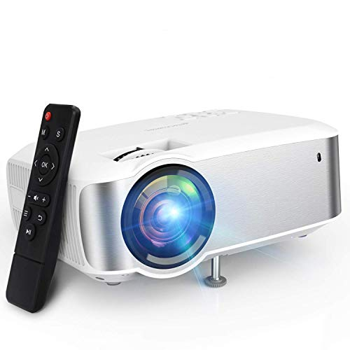 Projector, TOPVISION 1080P Supported Video Projector with 4500L, 60,000 Hrs Home Projector for Indoor/Outdoor with Speakers, Compatible with Fire TV Stick, PS4, HDMI, VGA, AV, USB (Renewed)