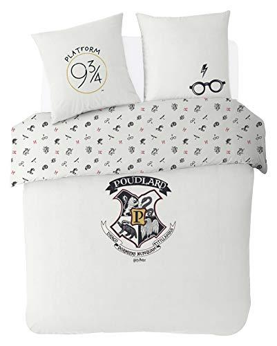 Warner Harry Potter parure de lit 220x240 cm, Mélange de Coton, Ecrue