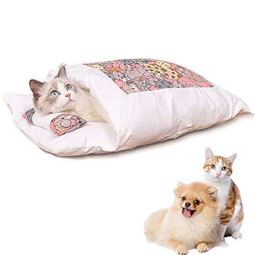 猫 ベッド 猫用寝袋 犬 ベッド 猫 ふとん ペットベッド 猫布团 ペット マット 布団 冬用 洗える 寒さ対策 保温防寒 柔らかい キャットハウス 可愛い 猫 クッション ソファ ベッド型 ネコ ベッド 猫寝床 ふわふわ 暖かい (B)