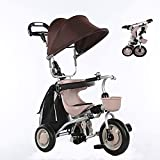 Stroller Wagon Tricycle Trike Baby Trike Foldable, 4 in 1 Childrens Folding Tricycle Walker Bike for 6 Months to 5 Years Foldable 3 Wheel Push Weight 30 kg( Color: Khaki) over 1 year old girl gifts