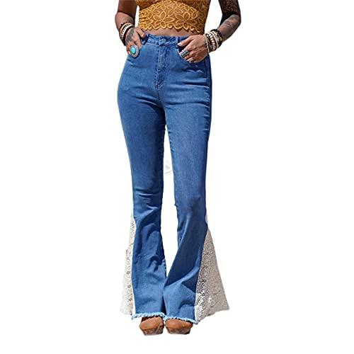 YANFANG Pantalones De Mezclilla con Costura Encaje Color SóLido Moda para Mujer Pantalones,Pantalones A La Bolsillo,PantalóN Palazzo Pierna Ancha Casual Estampado Floral Baggy,Azul,XXL
