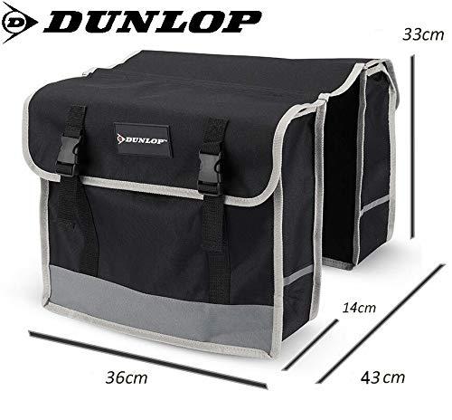 Dunlop FGT19 Doppel-Fahrradtasche Gepäckträgertasche für Rahmen, Cityrad Gepäckträger Tasche je 14,5 L Volumen, wasserdichte Radtasche , Fahrrad Seitentasche mit Clip-Verschluß, schwarz - 5