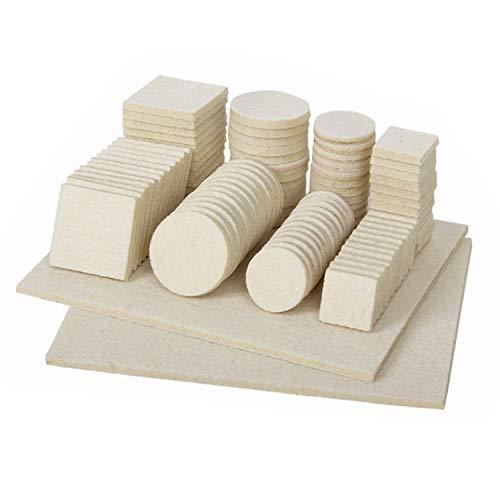 Quesuc 98 Piezas Fieltro Adhesivo - Protector Patas - Fieltro Muebles Se Puede Utilizar Para Muebles, Mesas y Sillas Mejor Protección De Muebles y Suelos, Silencioso y a Prueba De Golpes (Blanco)