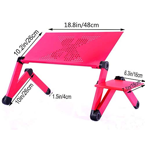 Laptop Desk for Bed and Couch, Portable Adjustable Laptop Stand with Big CPU Cooling Fan and Mouse Pad, Ergonomics Aluminum TV Bed Lap Tray up to 17in, Rose Red Photo #2