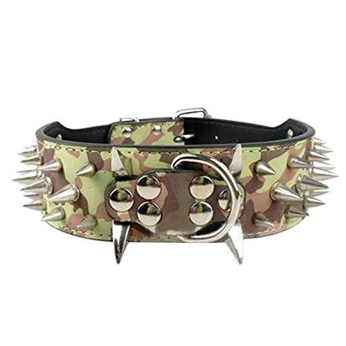 bodhi2000® Pet Halsbänder breit Sharp Spikes Nieten Kunstleder Hundehalsband für mittelgroße groß Pitbull