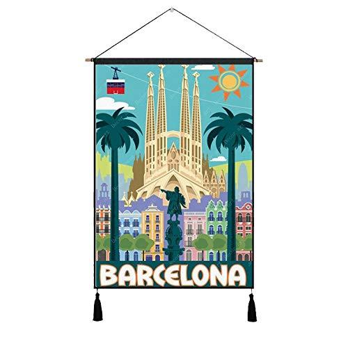 PJX Pósters colgantes de pinturas a Europa, viajes, España, Barcelona, estilo vintage,...
