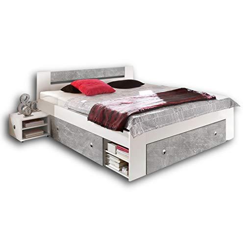STEFAN Moderne Doppelbett Bettanlage 140 x 200 cm mit 2x Nachtkommoden - Schlafzimmer Komplett-Set in Beton-Optik, Weiß - 145 x 86 x 204 cm (B/H/T)