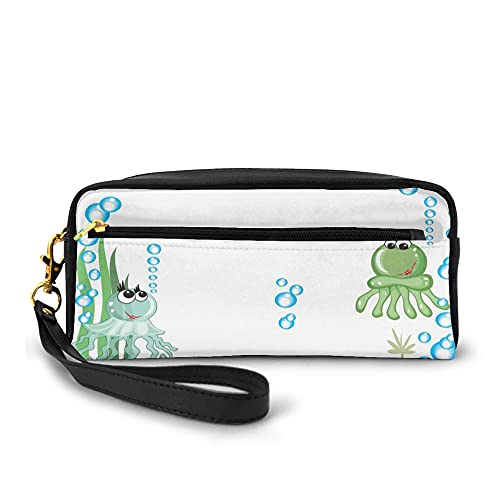 Makeup Bag,Aquarium With Seashell Octopus Stones And Bubbles Funny Cartoon Print,Zippered Lightweight Pencil Cases