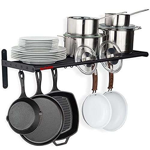 Geo fashion™ Kitchen Multipurpos Hanging Pot Rack Wall Mounted Shelf with Hooks - Heavy Duty Pot Hangers for Kitchen - Cookware Utensils Pot Lid Organizer Storage, Metal,Black