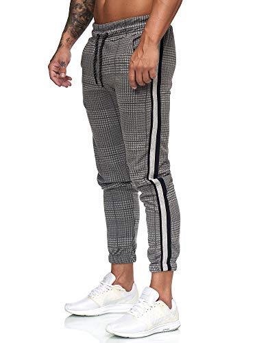 OneRedox Herren | Jogginghose | Trainingshose | Sport Fitness | Gym | Training | Slim Fit | Sweatpants Streifen | Jogging-Hose | Stripe Pants | Modell 1226 Antrazit XS