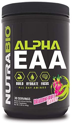 NutraBio Alpha EAA - All-Day Aminos - Recovery, Energy, Focus, and Hydration Supplement - Full Spectrum EAA BCAA Matrix, Electrolytes, Nootropics, Coconut Water - 30 Servings - Dragon Fruit