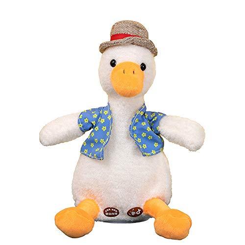 BBDA Come On Duck Net Red Duck Sand Escultura de juguete puede aprender a hablar y reproducir música repetidor muñeca linda, color blanco