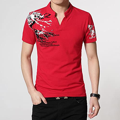 Polos para Hombre Camiseta para Hombre Camisetas De Cuello con Estampado De Letras Camisetas De Manga Corta Rectas Sueltas Deportivas De Trabajo Camisetas De Talla Grande M 4XL Red 4XL