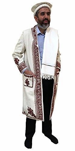 Woestijn Jurk Hand Gemaakt Afghaanse Chitral Over Jas Winter Chugha Pakol Patu Mens Witte Wol Kashmir Chugah Sjaal Pakol Lange