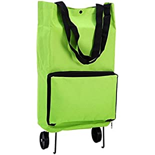 TOOGOO Portable Shopping Trolley Bag With Wheels Foldable Cart Rolling Grocery Green:Savelaguasia