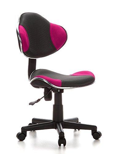 hjh OFFICE 670900 kinder bureaustoel KIDDY GTI-2 stof grijs / roze ergonomisch ontworpen kinderbureaustoel bureau chair