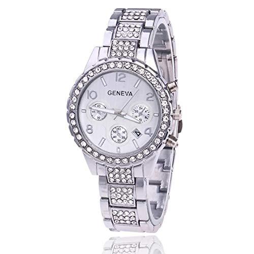 Geneva - Reloj de pulsera para mujer, color plateado y oro rosa, adornado con deslumbrantes circonitas cúbicas y diamantes de imitación con fecha y correa de metal MK (plata)