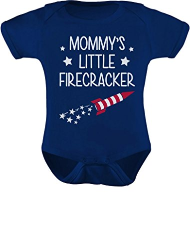 Tstars Mommy's Little Firecracker Infant Outfit 4th of July Funny Baby Bodysuit Newborn Navy