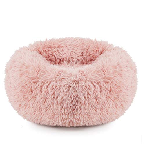 BEAAE-net kat nest warme hond nest pluche ronde middelgrote hond huisdier slaapzak hond mat kleur roze grijs champagne