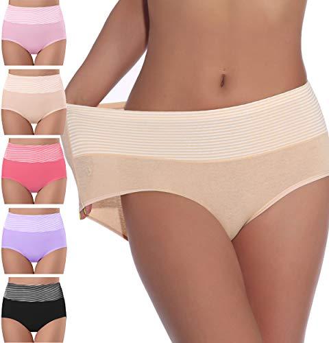 NINGMI Pacco da 5 Donna Mutande Slip a Vita Alta Cotone Elastico Confortevole Pantaloncini Post Parto