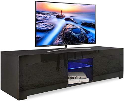 YOLEO Mobile TV Lucido (130x35x35 cm), TV Tavolino, TV Console, con LED, 2 Ripiani e 2 Ante, Nero