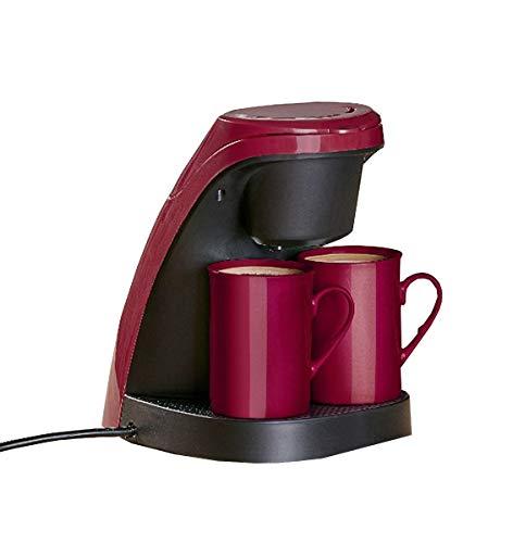 Mini Filter Kaffeemaschine + 2 Porzellan Tassen Reise Kaffeeautomat 2 Personen rot