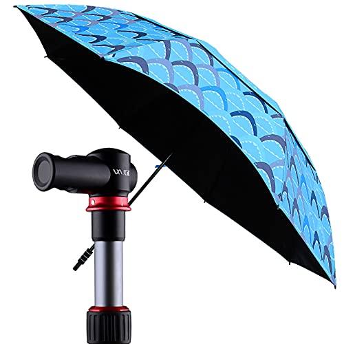 SAMUR Paraguas de Patio Al Aire Libre de 7.2 Pies, Varilla de Anillo Táctil, Estilo Único, Azul Claro/Azul Oscuro/Naranja/Rojo