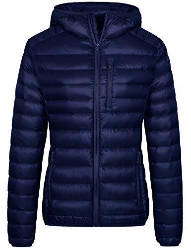 Wantdo Women's Water-Resistant Hooded Packable Ultra Light Down Jacket(Navy, M)