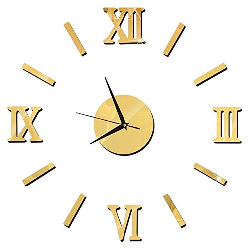 HXLES 3D Wall Clock Mirror Wall Stickers Creative DIY Wall Clocks Removable Art Decal Sticker Home Decor Living Room Quartz Needle