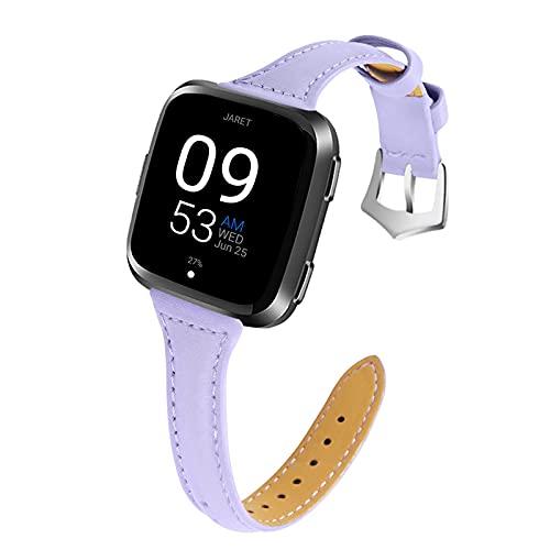 Reloj de relojes clásicos compatibles con Versa 3 / Sense Smart Watch, mujeres correas de reemplazo banda de muñeca transpirable cuero de cuero compatibles con versa 3 / sentido, azul oscuro correas d