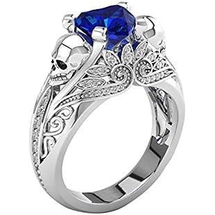 Prosperveil Punk Style Skull Zircon Ring for Women Crystal Jewelry Girls Gift(Blue)(7)