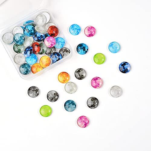 Ornaland Cabuchones de Cristal Luminosos con Patrón de Planetas, Fornituras de Joyería...