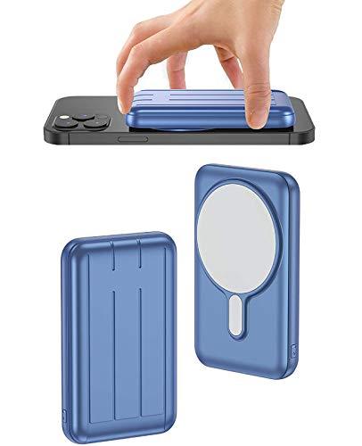 Banco De EnergíA Adsorbible InaláMbrico MagnéTico De 10000Mah, Cargador PortáTil InaláMbrico De Seguridad MagnéTica 15W,Carga RáPida USB-C BateríA Externa para iPhone 12/Mini/Pro/Pro MAX(Azul)