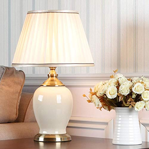 Dormitorio chino vintage salón lámpara de mesa de boda lámpara de mesa de cerámica de porcelana lámpara de mesa asiática de arte E27 Fuente de luz, interruptor de botón B 33x55x15 cm