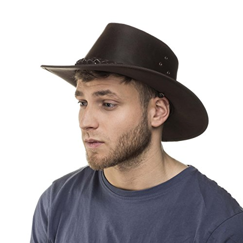 I-Smalls Chapeau de Soleil en Cuir Homme Déformable Classique Aussie (Marron Foncé) S