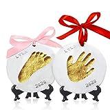Kit souvenir Ornement avec empreinte de main pour bébé - Ornements personnalisés pour nouveau-né - Chevalet pour kit souvenir...