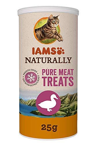 Iams Naturally Katzen-Snacks aus 100% Ente, getreidefrei, gefriergetrocknete Leckerlis, 4er Pack (4 x 25 g)