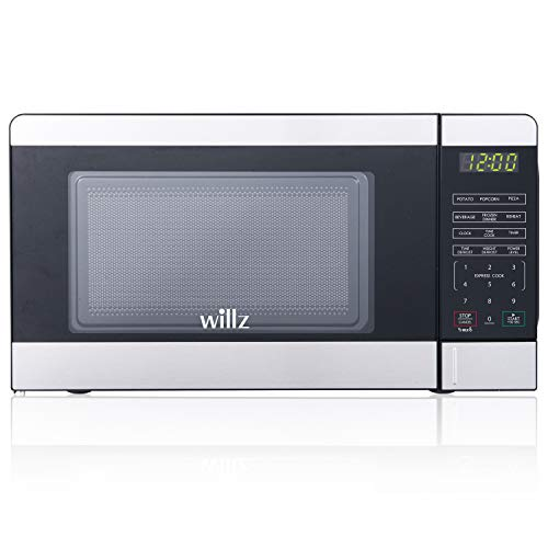 Willz WLCMV207S2-07 Countertop Microwave Oven, 6 Cooking Programs, LED Lighting Push Button, 0.7 Cu.Ft, Stainless Steel, Cu Ft