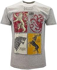 T-Shirt Camiseta BLASON Armas 4 FAMILIAS Serie de Televisión Juego DE Tronos Game of Thrones