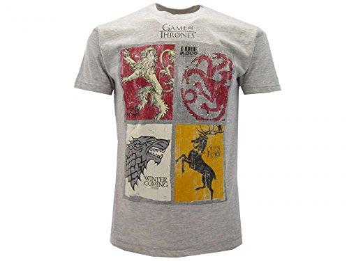 T-Shirt Camiseta BLASON Armas 4 FAMILIAS Serie de Televisión Juego DE Tronos Game of Thrones - 100% Oficial HBO (XS 12-14 Años)