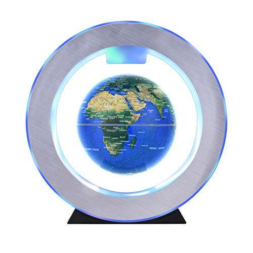 Aibecy Globo flotante de levitación magnética de 4 pulgadas Bola de tierra giratoria antigravedad Globo de mapa del mundo levitante con luz LED colorida y base en forma de O para regalo educativo